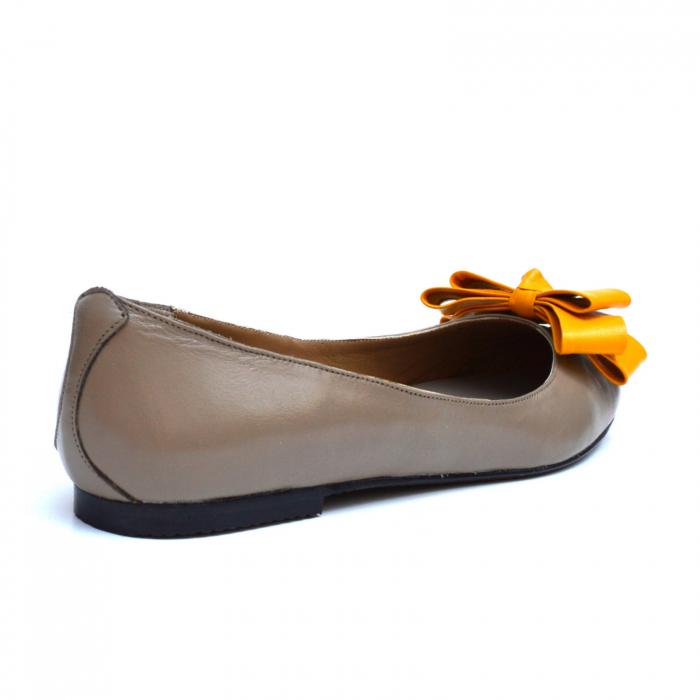 Balerini dama din piele Orange Bow 1