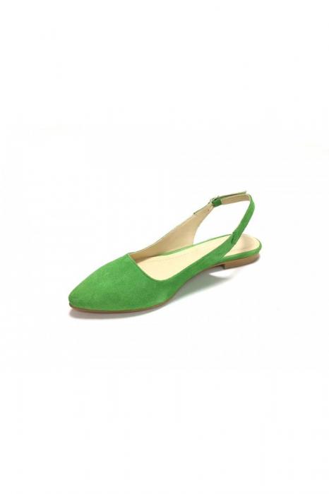 Balerini decupati din piele Lia Velvet Green 3