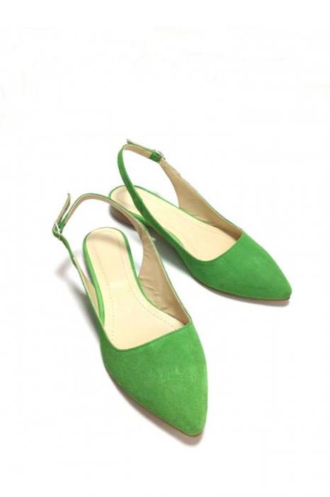 Balerini decupati din piele Lia Velvet Green 2