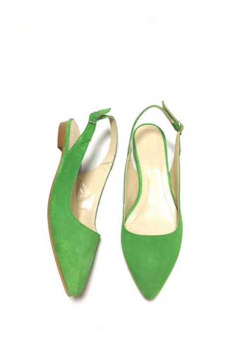 Balerini decupati din piele Lia Velvet Green 1