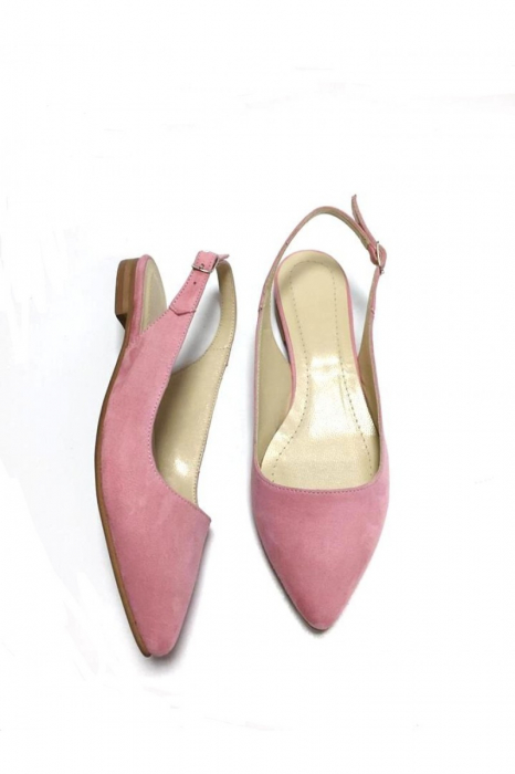 Balerini decupati din piele Lia Velvet Powder Pink 1