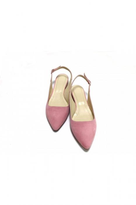 Balerini decupati din piele Lia Velvet Powder Pink 2