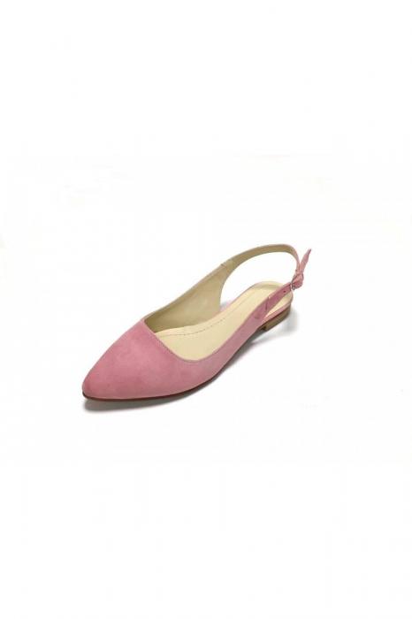 Balerini decupati din piele Lia Velvet Powder Pink 3