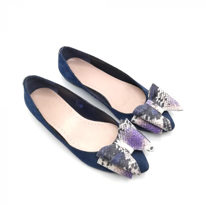 Balerini bleumarin din piele naturala cu funda supradimensionata Purple Snake 2