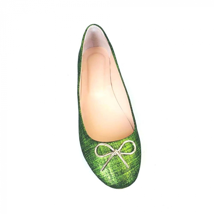 Balerini din piele naturala si varf rotund Palm Green 2