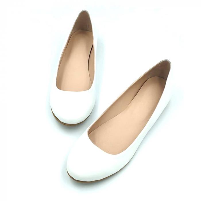Balerini din piele naturala si varf rotund Palm White 2