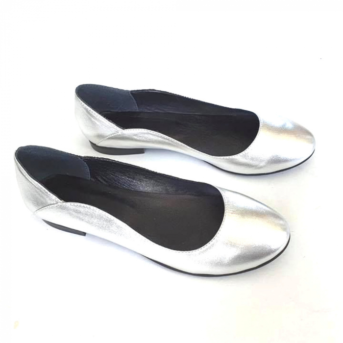 Balerini din piele naturala si varf rotund Vera Silver [0]