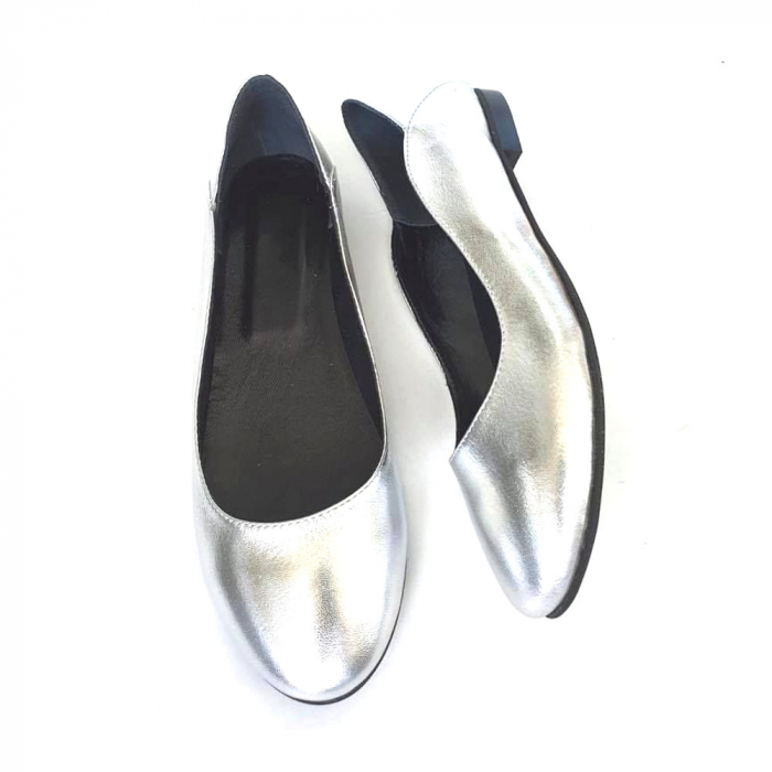 Balerini din piele naturala si varf rotund Vera Silver 3