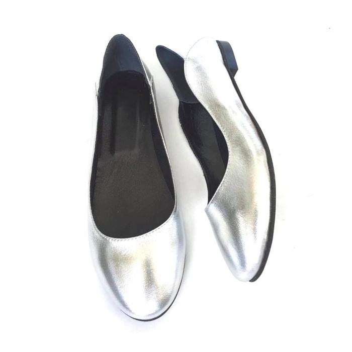 Balerini din piele naturala si varf rotund Vera Silver, 36 3