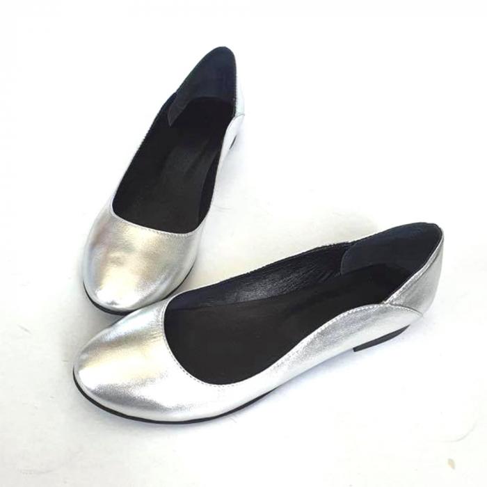 Balerini din piele naturala si varf rotund Vera Silver 2