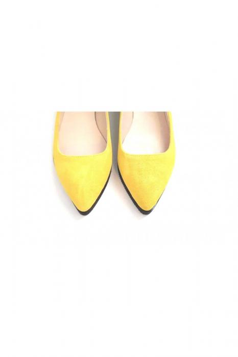 Balerini din piele Yellow Cora 2