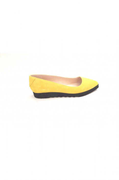 Balerini din piele Yellow Cora 3