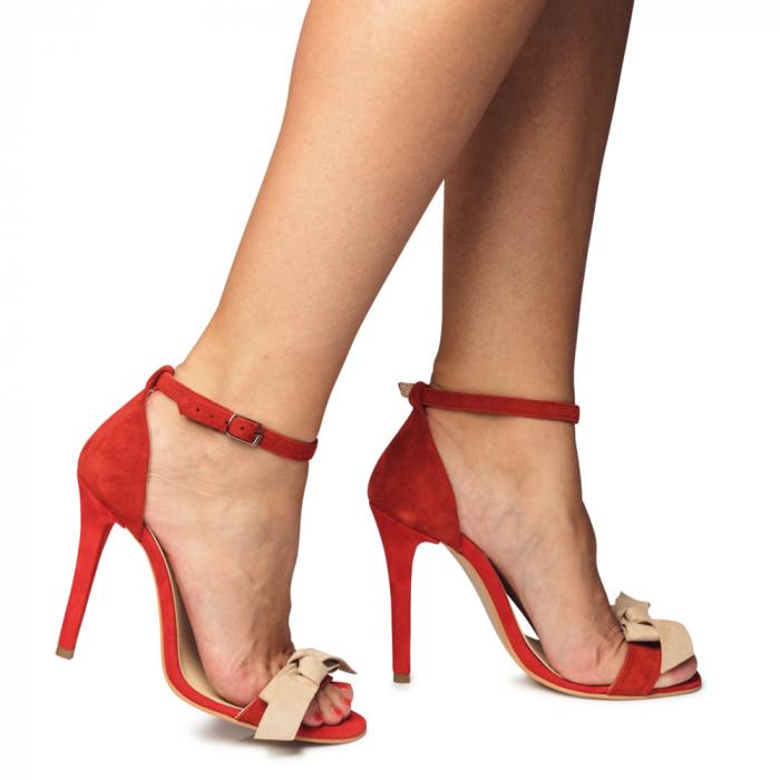 Sandale rosii cu toc inalt si funda nude din piele intoarsa, CA6 4