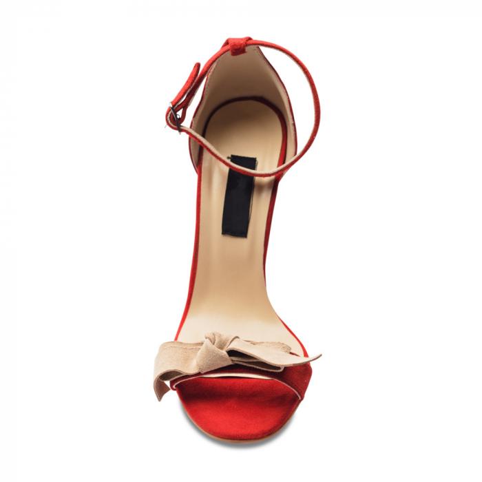 Sandale rosii cu toc inalt si funda nude din piele intoarsa, CA6 3