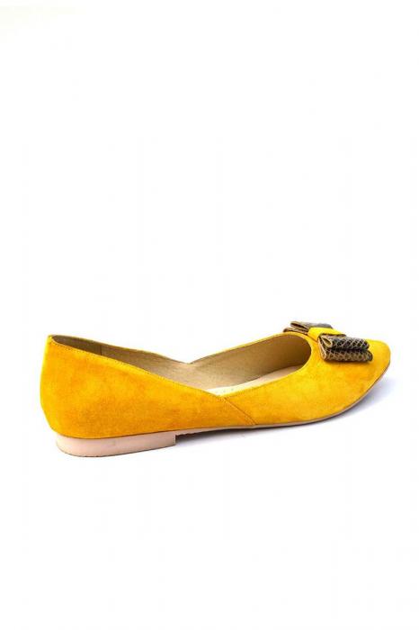 Balerini dama din piele intoarsa Yellow Bow 1