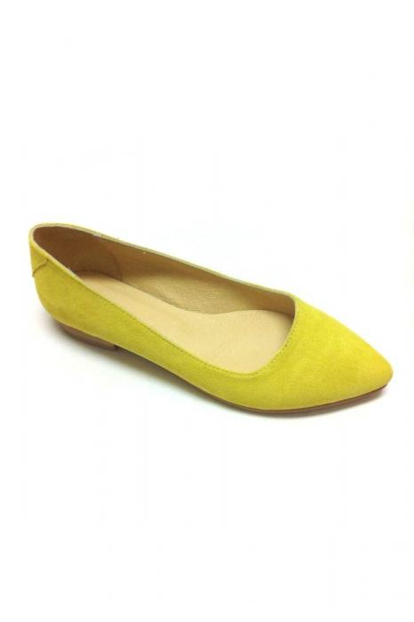 Balerini Piele Intoarsa Shiny Yellow 0