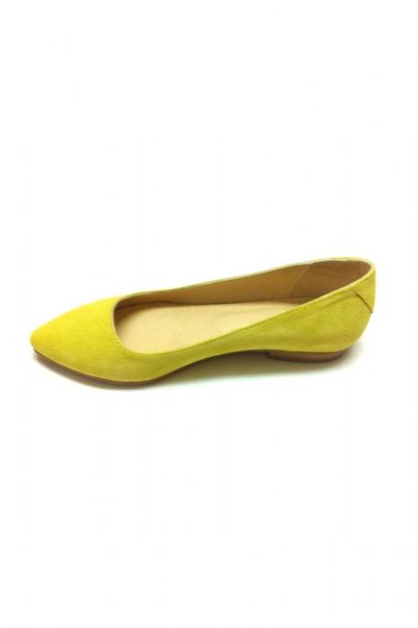 Balerini Piele Intoarsa Shiny Yellow 1