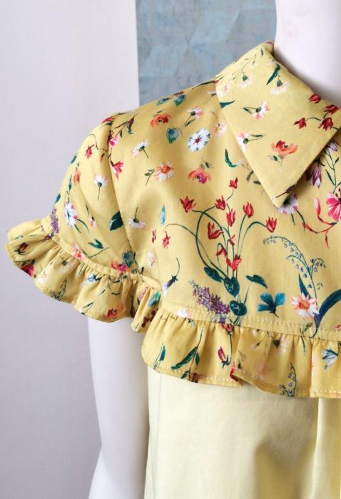 Bluza galbena cu maneca scurta si guler tip camasa [1]