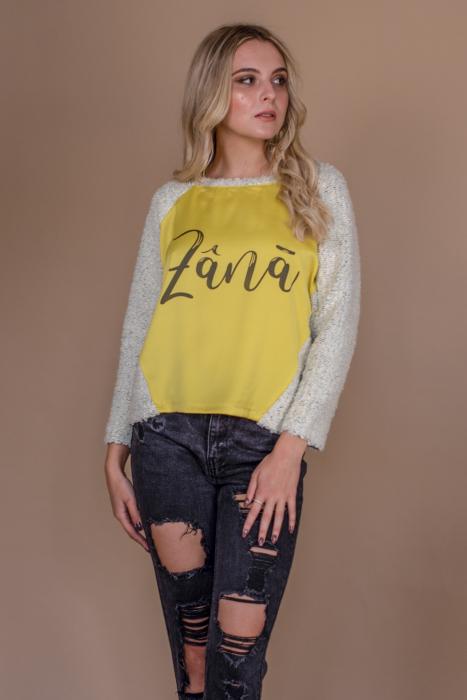 Bluza raglan oversize cu maneci lungi si imprimeu Zana 0