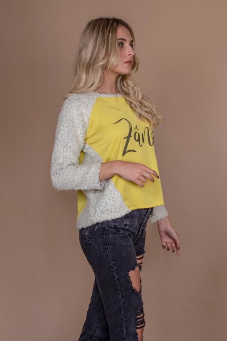 Bluza raglan oversize cu maneci lungi si imprimeu Zana 2
