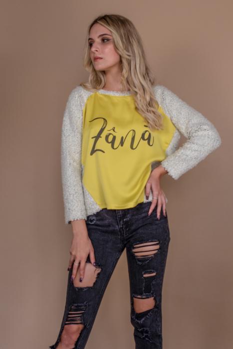 Bluza raglan oversize cu maneci lungi si imprimeu Zana 1