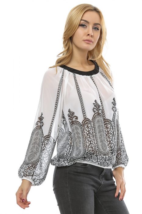Bluza bufanta cu print digital B94 1
