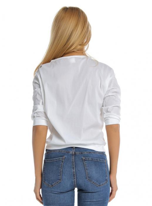Bluza casual alba cu aplicatie de dantela perforata B107, L 1