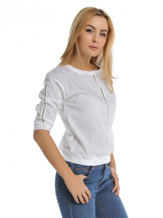 Bluza casual alba cu aplicatie de dantela perforata B107, L 2