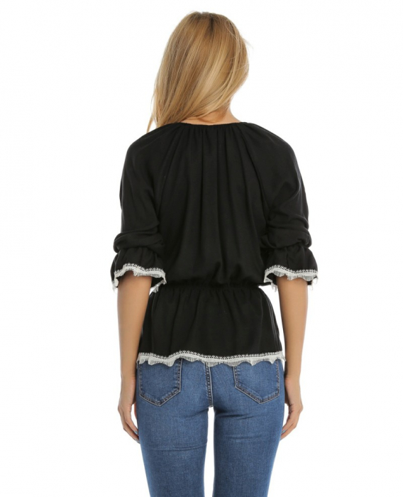 Bluza casual neagra cu maneci trei sferturi si aplicatie de dantela B110 2