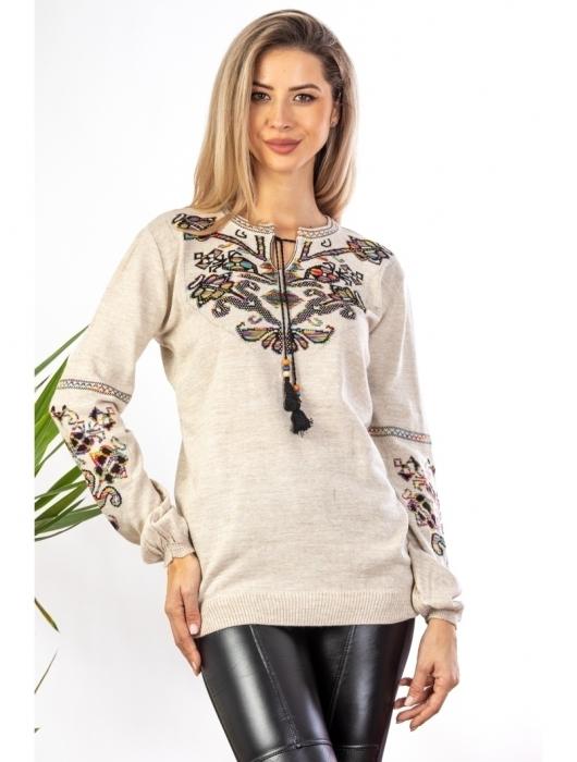 Bluza cu maneci lungi din tricot bej cu broderie florala 1