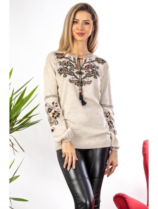 Bluza cu maneci lungi din tricot bej cu broderie florala 0