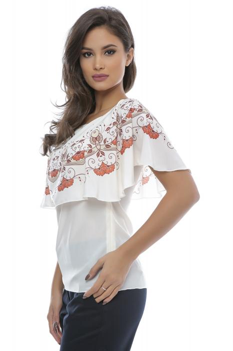 Bluza cu volan imprimat cu motive florale B93