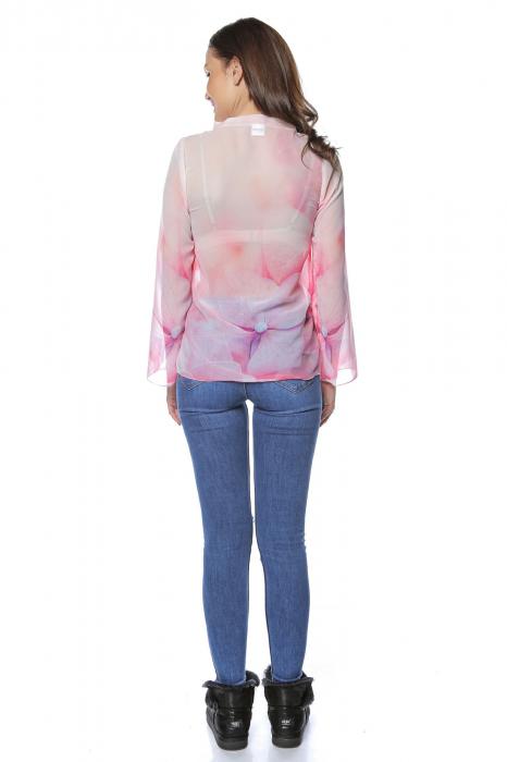 Bluza dama din voal imprimat Pink B122 2