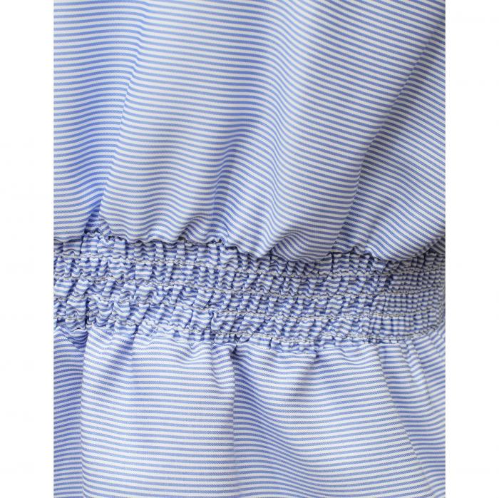 Bluza dama office din bumbac bleu cu volan la maneci 3