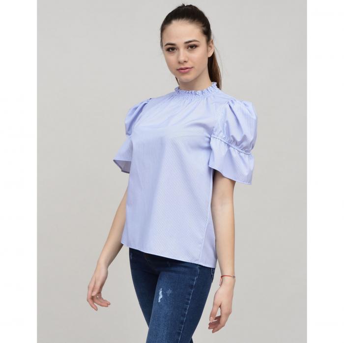 Bluza dama office din bumbac bleu cu maneci scurte 0