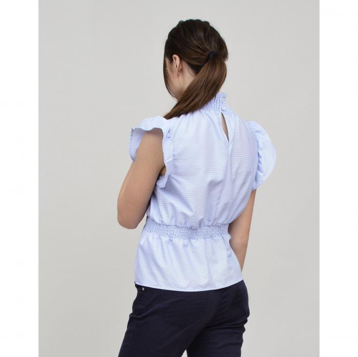 Bluza dama office din bumbac bleu cu volan la maneci 1