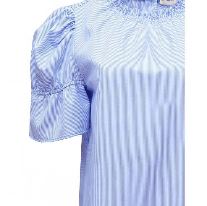 Bluza dama office din bumbac bleu cu maneci scurte 2