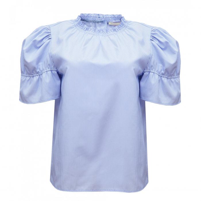 Bluza dama office din bumbac bleu cu maneci scurte 1