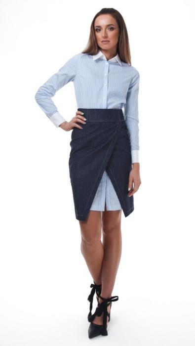Rochie camasa alba cu dungi fine bleu 3