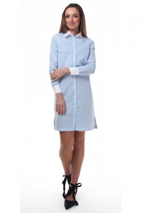Rochie camasa alba cu dungi fine bleu 0