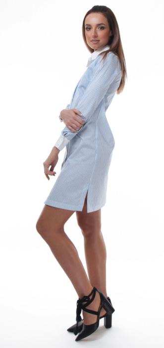 Rochie camasa alba cu dungi fine bleu 2