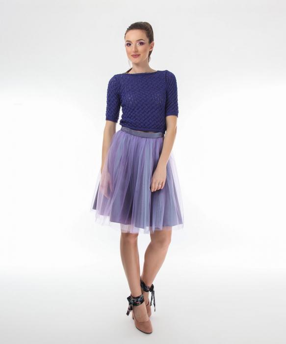 Top dama tricotat indigo si maneci trei sferturi 1