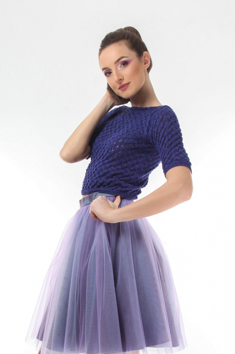Top dama tricotat indigo si maneci trei sferturi 0