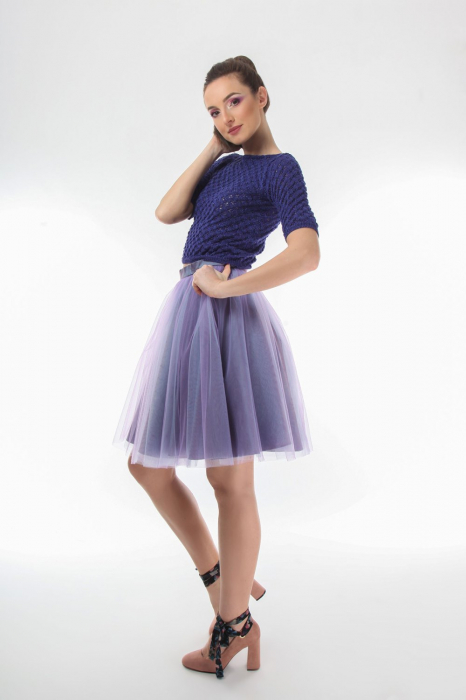 Top dama tricotat indigo si maneci trei sferturi 2