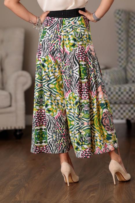 Pantaloni culottes vaporosi multicolori Clara [4]