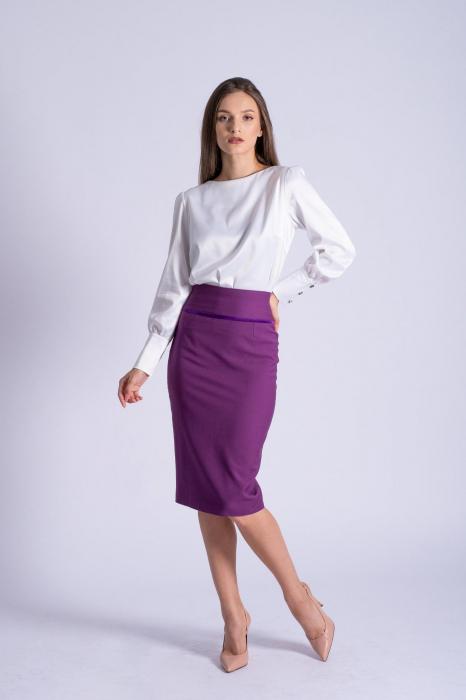Bluza office alba din bumbac satinat Kim 1