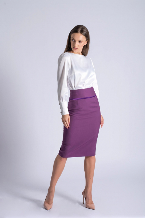 Bluza office alba din bumbac satinat Kim 0