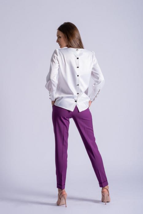 Bluza office alba din bumbac satinat Kim 3