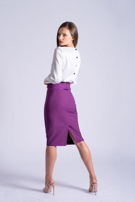 Bluza office alba din bumbac satinat Kim 2