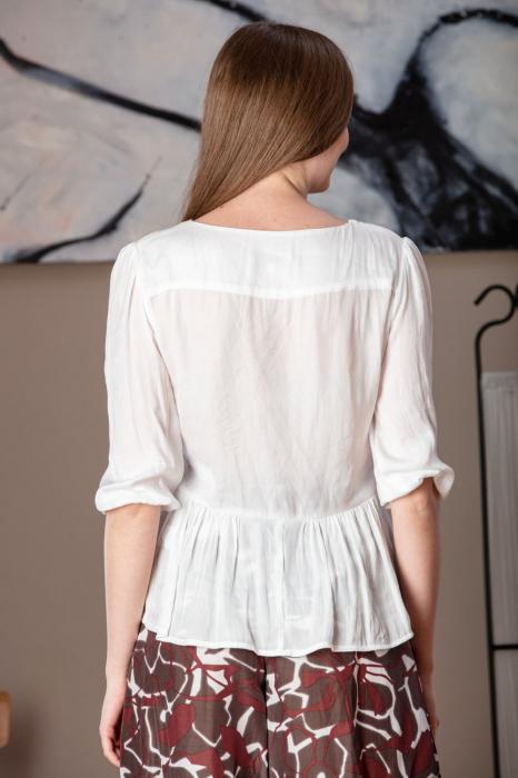 Bluza casual cu maneci trei sferturi alba Nona